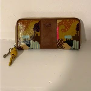 FOSSIL key per wallet leather and pattern